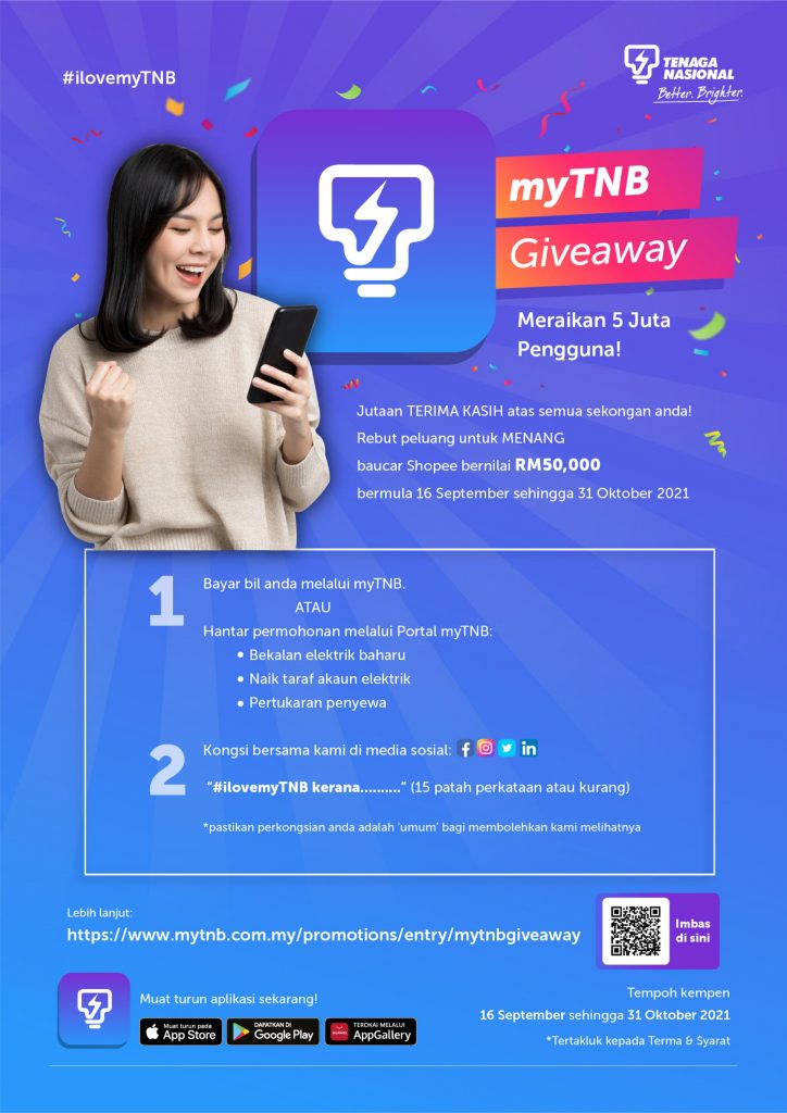 myTNB Giveaway WIN a Shopee Voucher worth up to RM50,000!
