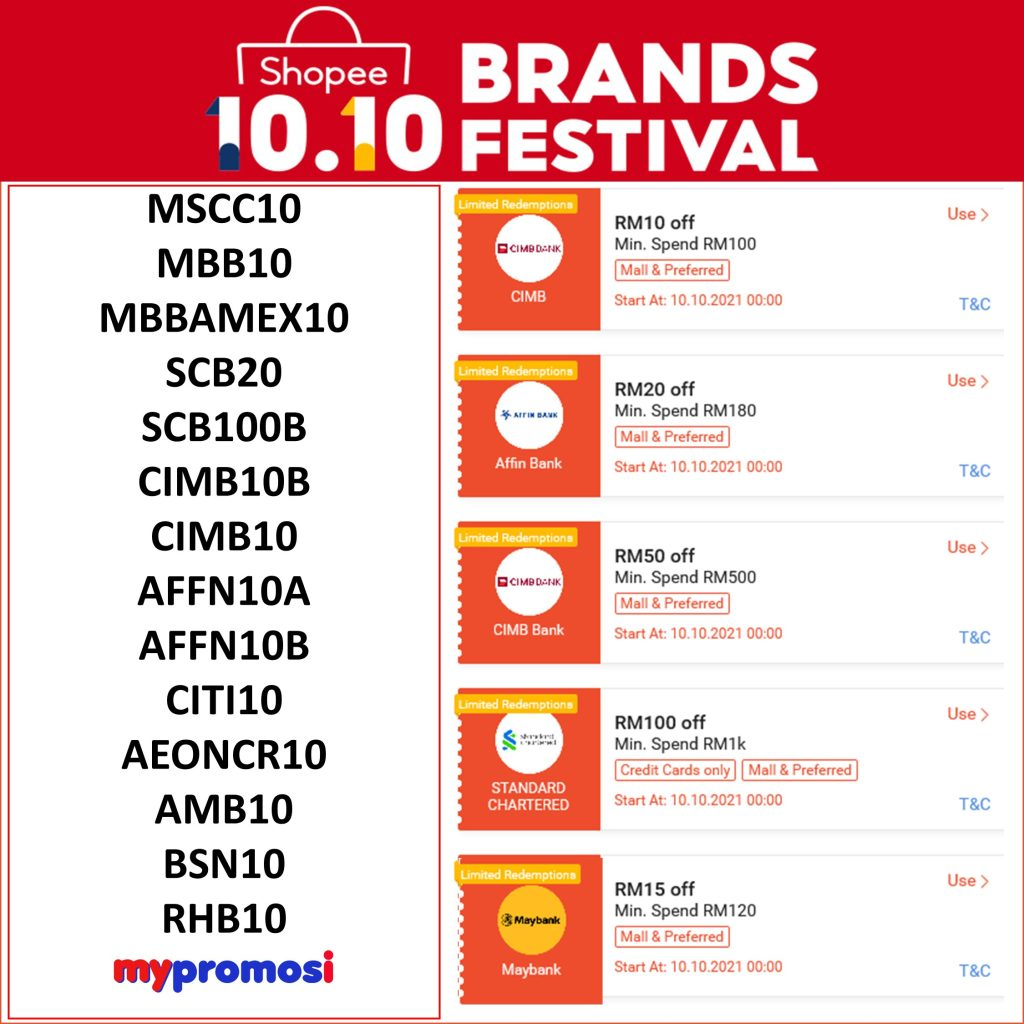 Shopee 10.10 Senarai Baucar Bank